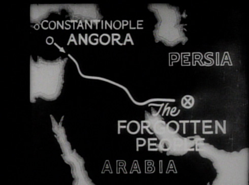 A map charts the filmmaker's route to reach 'The Forgotten People,' more specifically the Baba Achmadi Tribe of the Bakhtiari.