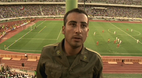 After one of the girls escapes, the soldier from Mashhad (Mohammad Kheirabadi) makes a vain attempt to find her in the crowd, this shot is one of the few actual glimpses of the game in the movie.